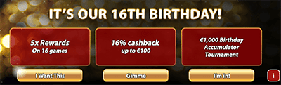 Royal Vegas birthday bonuses