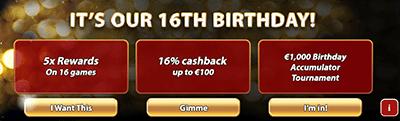 Royal Vegas birthday bonuses