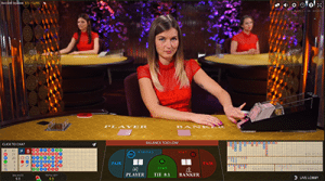 Live dealer baccarat games by Evolution